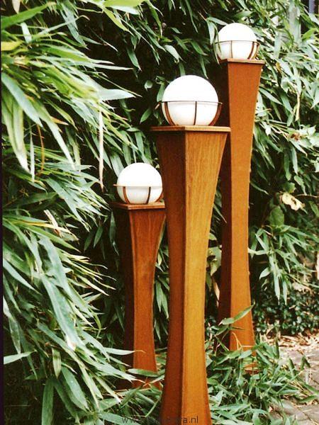 Tuinverlichting roest Milano cortenstaal 70, 90 en 110 cm hoog