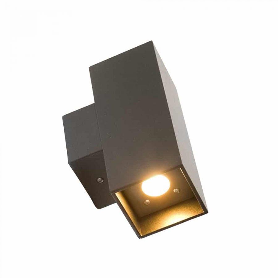 Wandlamp T LED 2 x 2 watt antraciet updown light