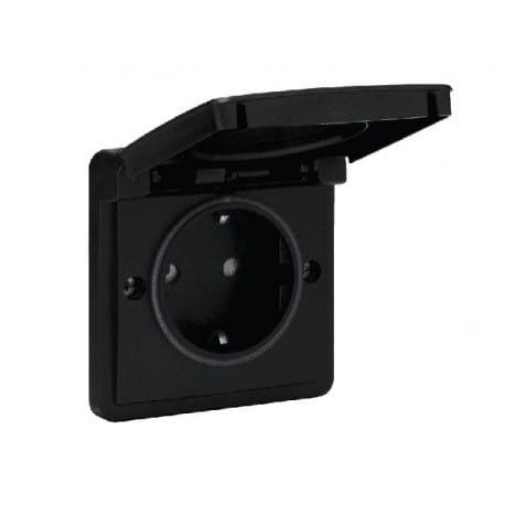 Niko Hydro enkel stopcontact compleet zwart