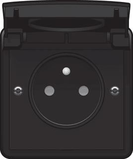 niko hydro buitenstopcontact zwart ip55 waterdicht