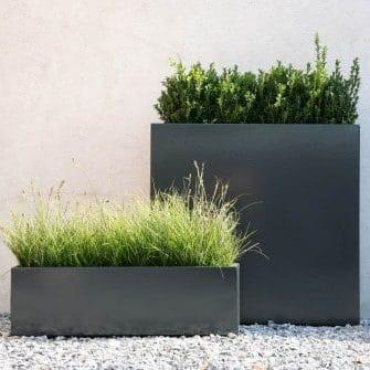 Bloembak aluminium antraciet tuinextra vierkant plantenbak