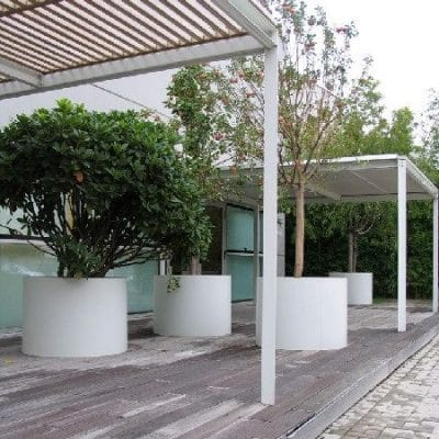 Bloembak aluminium wit tuinextra rond plantenbak