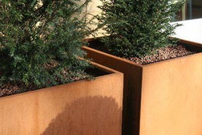Bloembak cortenstaal vierkant tuin roest