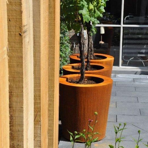 Bloembak plantenbak pot rond conisch roest cortenstaal tuinextra