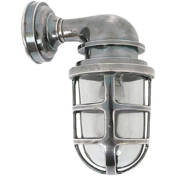 Industri le buitenlamp brooklyn antiek zilver stoere for Stoere industriele wandlampen