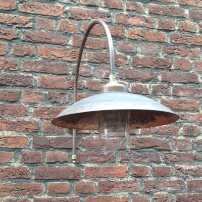 Koperen stallamp buitenlamp messing/koper verouderd met boog groot TuinExtra