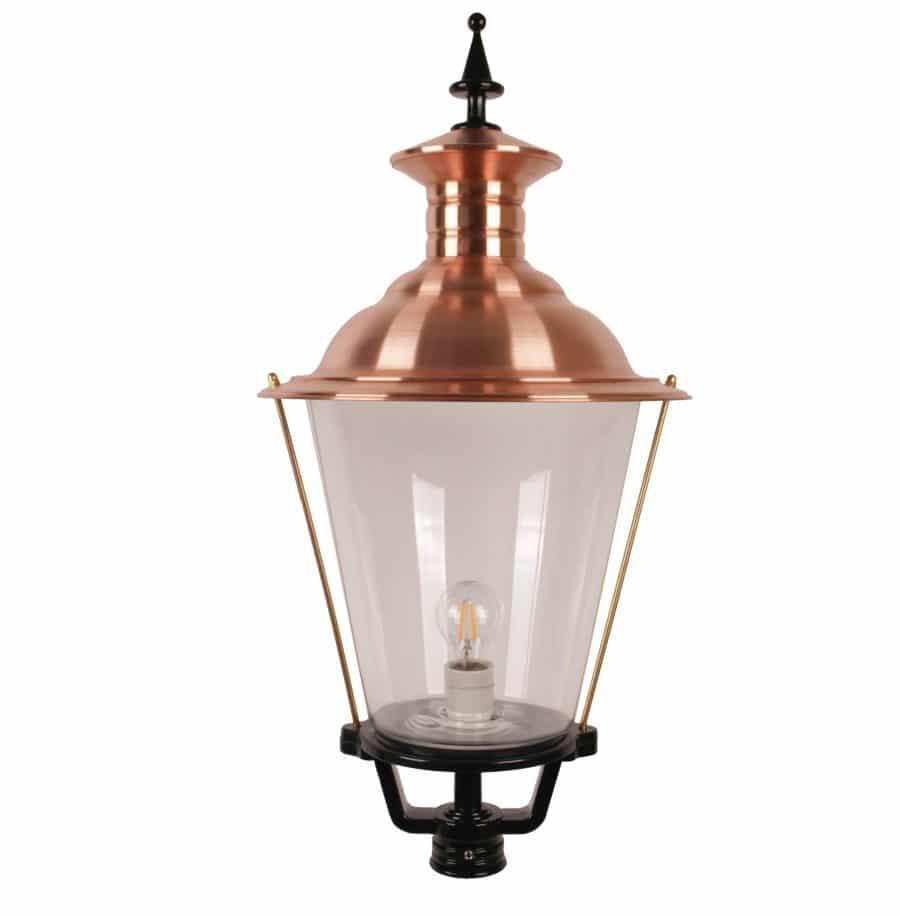 Kap buitenlamp rond oud hollands echt glas groot 1532 koperen deksel