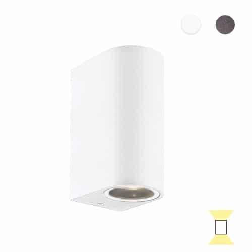 Tilos B4 rond buitenlamp tuinextra up-downlight wandlamp wit GU10